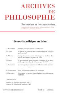 Une-82-4 Penser la politique en islam
