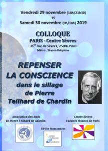 2019- 29 et 30 nov Colloque Repenser la conscience Telhard de Chardin-centresevres affiche