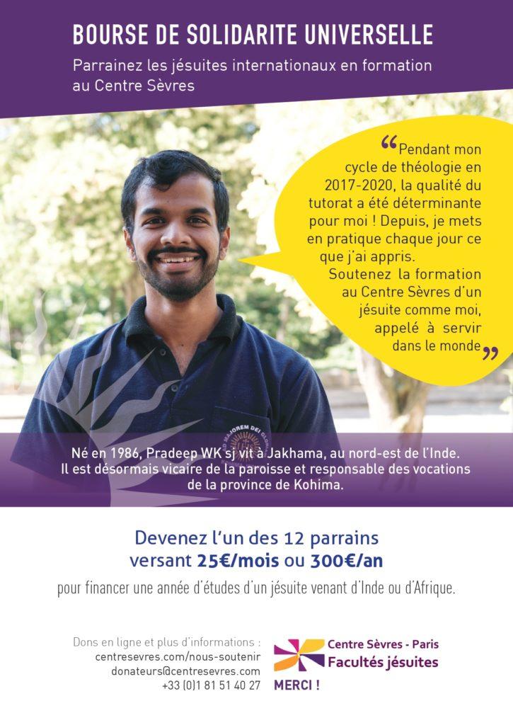 Affiche A4 bourse solidarité pradeep centre sevres